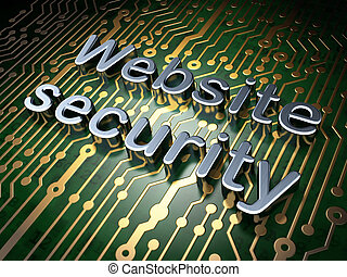 SEO web design concept: Website Security on circuit board...