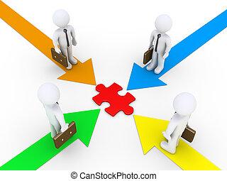 Businessmen find common solution - Four businessmen on...