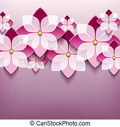 Floral trendy background with 3d flower sakura