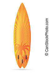 surfboard with a landscape vector illustration isolated on...
