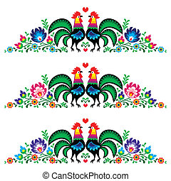 Polish floral folk long embroidery - Decorative traditional...