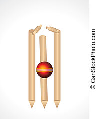Cricket Stumps & Ball Vector illustration