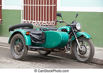 Sidecar - Old classic sidecar along the street in Sancti...