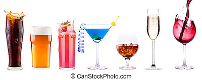 different alcohol drinks set - beer, wine, cocktail,juice,...