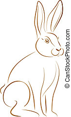 Rabbit Sitting - Outline illustration of a sitting rabbit...