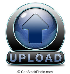 upload icon - Upload file document movie or video button or...