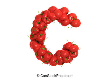 Tomato letter C on white background, high quality 3d render