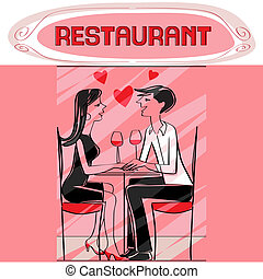 restaurant lovers - Hand drawn illustration of two lovers...