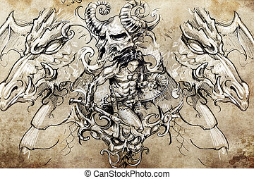 warrior with dragons, Tattoo sketch, handmade design over...