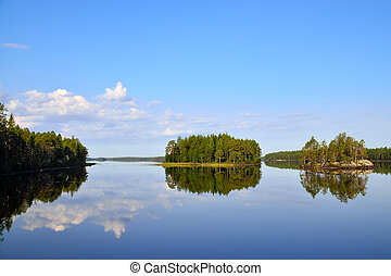 Morning calm Lake Engozero, North Karelia, Russia