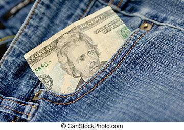 Folded Twenty Dollar Bill - A twenty dollar bill sticking...