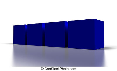 blue 3D cubes - blank blue 3D cubes isolated on white