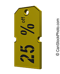 gold price tag with discount on white background
