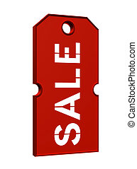 price tag with sale - red price tag with sale on white...