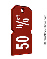 price tag with discount - red price tag with discount on...