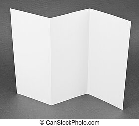Blank folding one page booklet on gray background