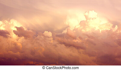 Purple Cumulonimbus Clouds in Sky After Storm - Large Pink...