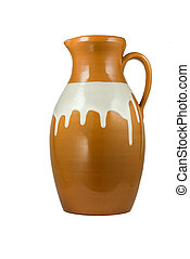 Ceramic jug Isolated object on a white background