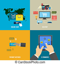 online shop, e-commerce, payment and delivery - Icons for...