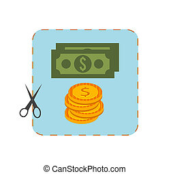 Icon of coupon cutout with money in flat design