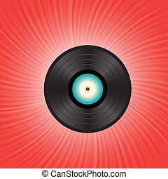 vinyl disc on a red wave background