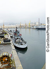 la spezia - View on harbor with military navy base and city...