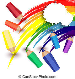 crayons draw a rainbow - Colored pencils and a rainbow on a...