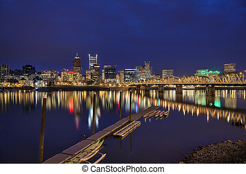 Portland Waterfront Skyline at Blue Hour - Portland Oregon...
