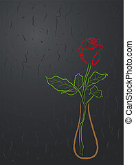 Stylized red rose in a vase over grey