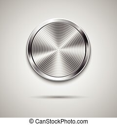 Technology circle button template with metal texture -...