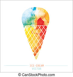 ice-cream - watercolor ice cream. vector illustration.
