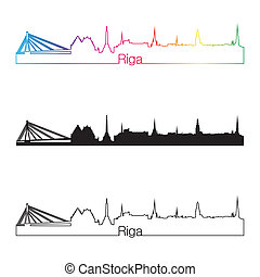 Riga skyline linear style with rainbow in editable vector...