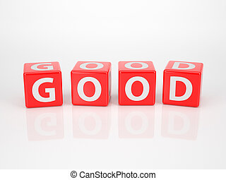 Good out of red Letter Dices - The Word Good out of red...