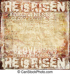 Easter Religious Background - Religious Words in grunge...