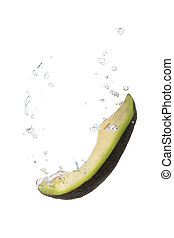 Avocado in water with air bubbles