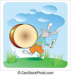 drummer - rabbit drummer, vector illustration