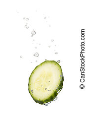 Cucumber in water with air bubbles