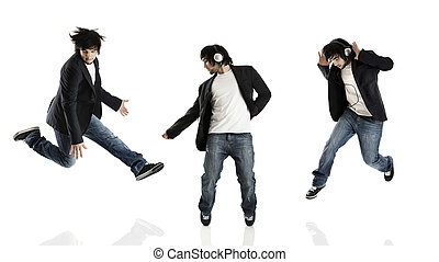 Dance and Jumping - Young modern man dancing over a white...