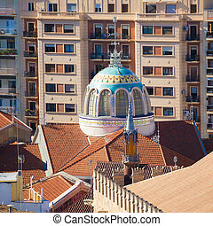 Valencia aerial skyline from el Miguelete mercado central of...