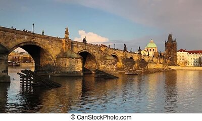 Charles bridge in Prague - Famous Charles bridge on Vltava...