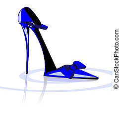 blue shoe - on a white background there is blue lady's shoe