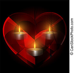 heart-crystal and candles - dark background and red...