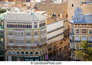 Valencia aerial skyline with calle la Paz and San vicente...