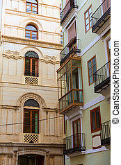 Valencia calle del Mar street buidings detail Spain -...