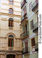 Valencia calle del Mar street buidings detail Spain -...
