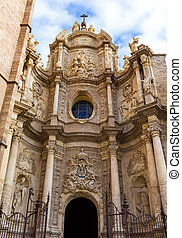 Valencia cathedral Seu facade in plaza de la Reina square...