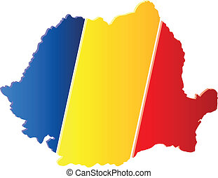 3D Romania Map With Flag