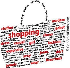 3D Shopping Bag Abstract Word Cloud Vector Illustration