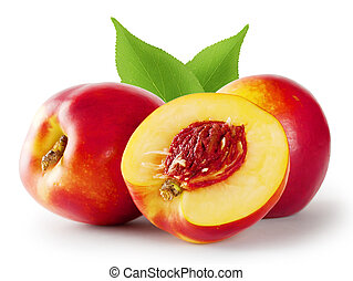 Ripe juicy nectarine with leaves isolated on white...