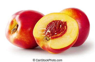 Ripe juicy nectarines isolated on white background
